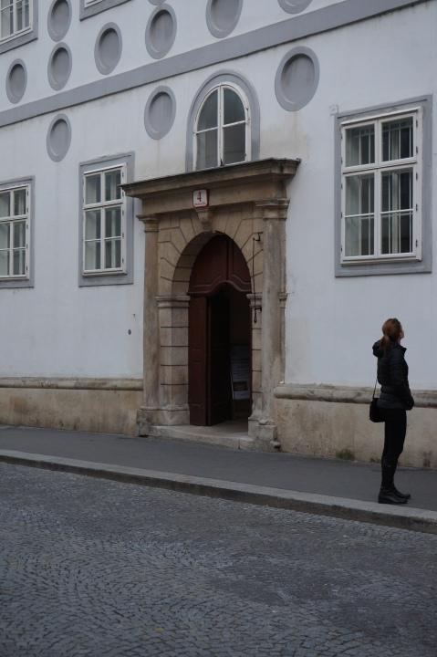 Eingang zur Jausenausgabe bei der Franziskanerkirche